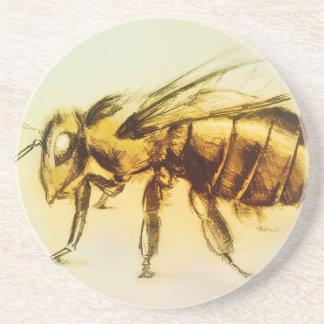 Yellow Bee SandStone Coaster, Realistic Drawing Coaster