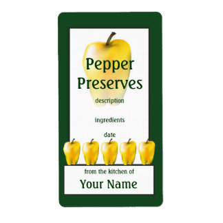 Yellow Bell Pepper Preserves Cook's Canning Label Shipping Label