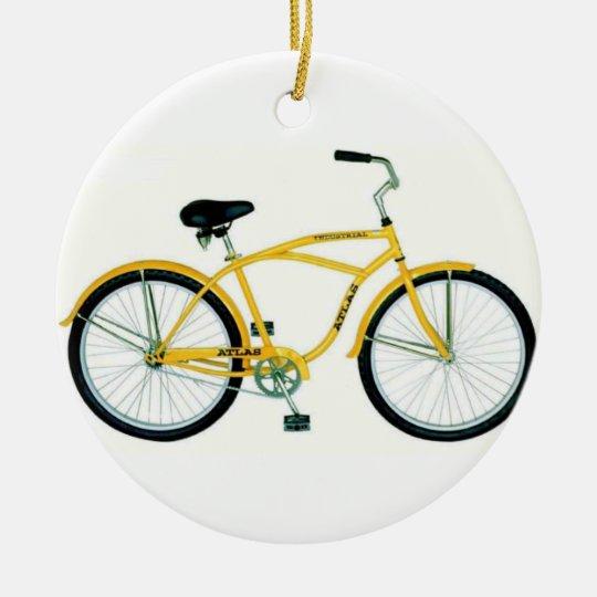 YELLOW BICYCLE CHRISTMAS ORNAMENT