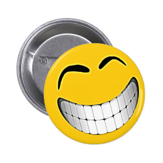 Yellow Big Grin Smiley Face 6 Cm Round Badge