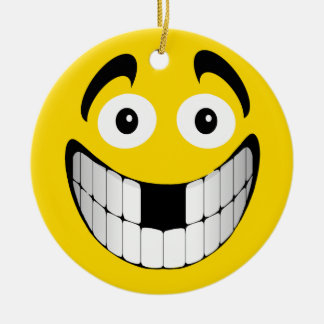 Yellow Big Grin Smiley with Missing Teeth Round Ceramic Decoration