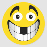Yellow Big Grin Smiley with Missing Teeth Stickers