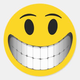 Yellow Big Smile Smiley Face Round Sticker