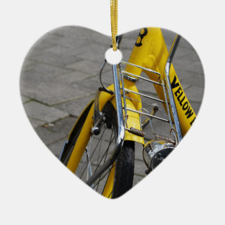 Yellow Bike Amsterdam Ceramic Heart Decoration