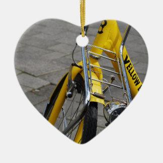Yellow Bike Amsterdam Ceramic Heart Decoration