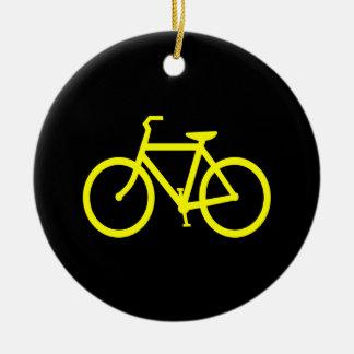 Yellow  Bike Round Ceramic Decoration