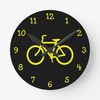 Yellow  Bike Round Clock