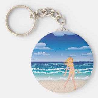 Yellow bikini girl on beach basic round button key ring