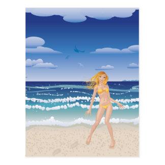 Yellow bikini girl on beach postcard