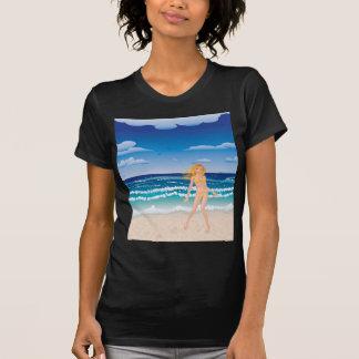 Yellow bikini girl on beach t-shirt
