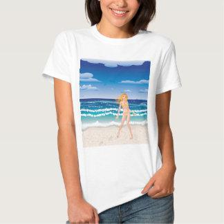 Yellow bikini girl on beach tshirts