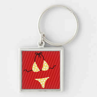 Yellow Bikini on Red Stripe Background Silver-Colored Square Key Ring