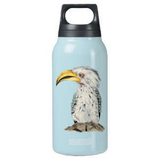 Yellow-Billed Hornbill Watercolor Painting Insulated Water Bottle