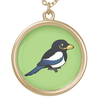 Yellow-billed Magpie Gold Plated Necklace