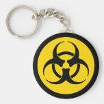 Yellow Biohazard Symbol Keychain