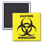 Yellow Biohazard Symbol Warning Sign Square Magnet