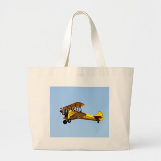 Yellow Biplane Large Tote Bag