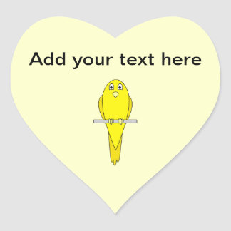 Yellow Bird. Canary. Heart Sticker