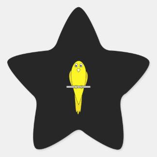 Yellow Bird. Canary. On Black. Star Sticker