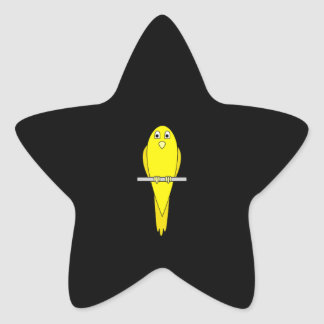 Yellow Bird. Canary. On Black. Star Sticker