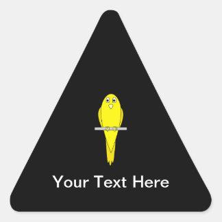 Yellow Bird. Canary. On Black. Triangle Sticker