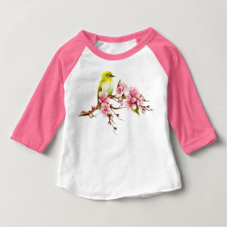 Yellow Bird Cherry Blossom Branch Baby T-Shirt