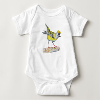 Yellow Bird Drawing Baby Jersey Bodysuit, White Baby Bodysuit