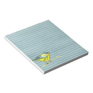 Yellow Bird Gray Lined Notepad