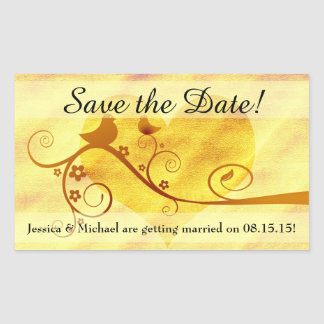 Yellow Bird/Heart Save the Date Rectangle Stickers