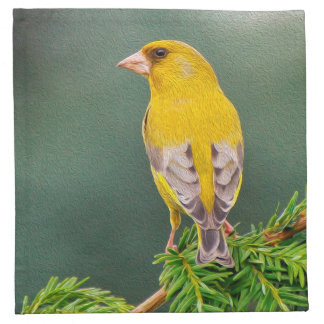 Yellow Bird on Branch Printed Napkin
