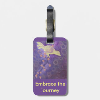 yellow bird on cherry blossom branch luggage tag