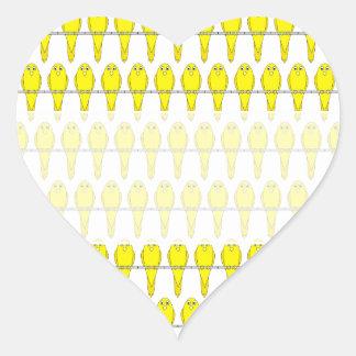 Yellow Bird Pattern. Canaries. Heart Sticker