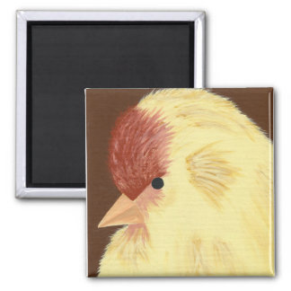 Yellow bird square magnet