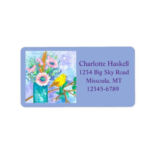 Yellow Bird Watercolor Flowers Bouquet Label