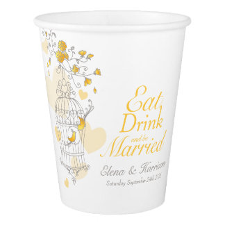 Yellow birdcage wedding custom name paper cups