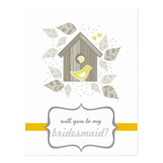yellow birds at home my bridesmaid post cards