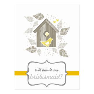 yellow birds at home my bridesmaid postcard