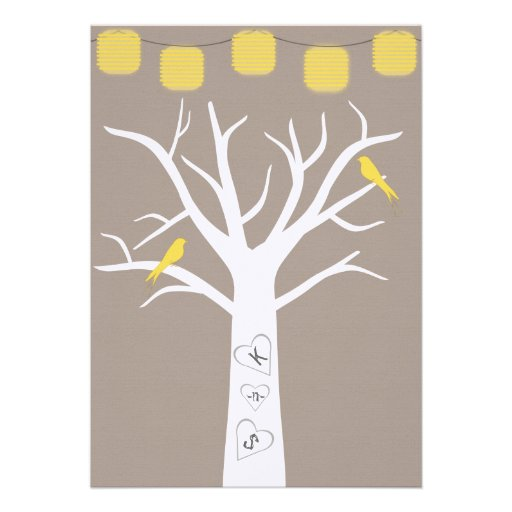 Yellow Birds In A Tree and Paper Lanterns Wedding Invitation