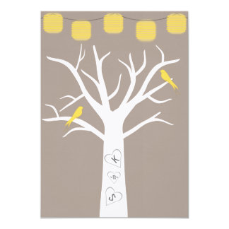 Yellow Birds In A Tree and Paper Lanterns Wedding 5x7 Paper Invitation Card