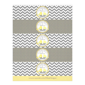 Yellow Birds Nest Mix Print Water Bottle Labels 21.5 Cm X 28 Cm Flyer