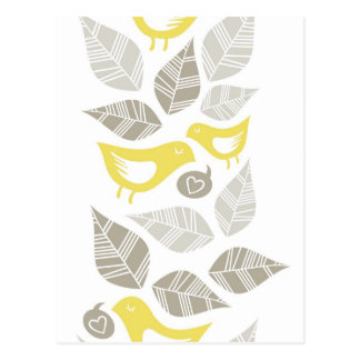 yellow birds singing of love horizontal border postcard