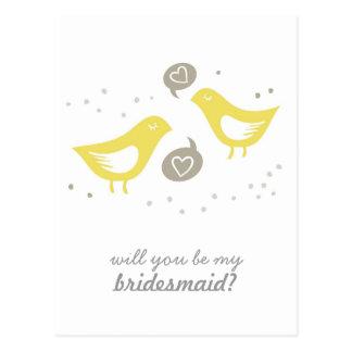 yellow birds talking my bridesmaid vertical postcard