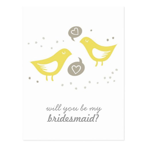 yellow birds talking my bridesmaid vertical post cards
