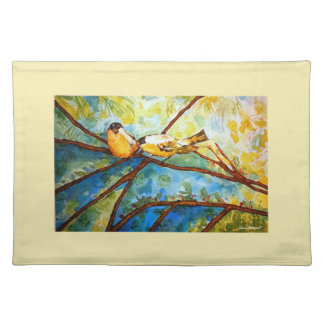 Yellow Birds Watercolor Art Cloth Placemat