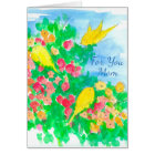 Yellow Birds Watercolor Flowers Happy Mother's Day Card