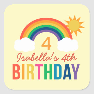 Yellow Birthday Party Favor | Rainbow Colors Square Sticker