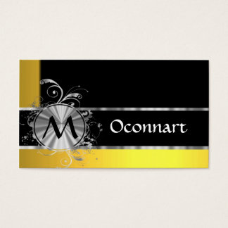 Yellow black and silver monogram business card