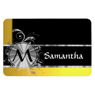 Yellow black and silver monogram rectangular photo magnet