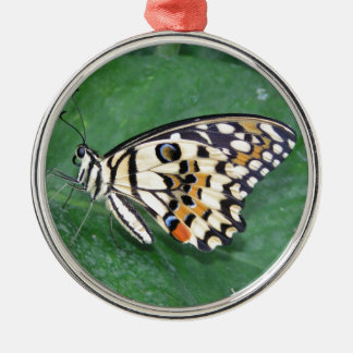 Yellow Black and White Butterfly on Leaf Christmas Ornament