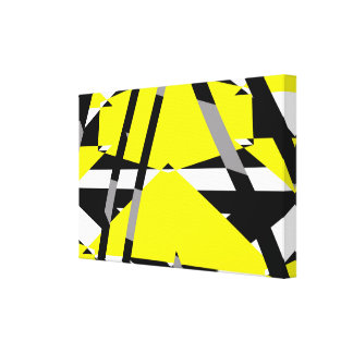 Yellow, black and white pieces abstract design canvas print